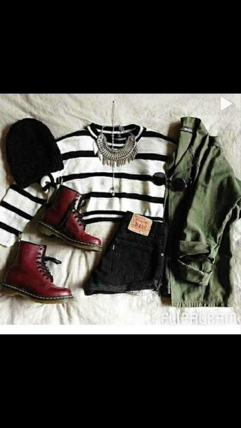 shoes black and white skirt jacket red boots