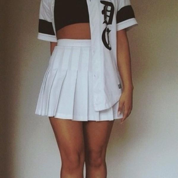 skirt white pleated skirt