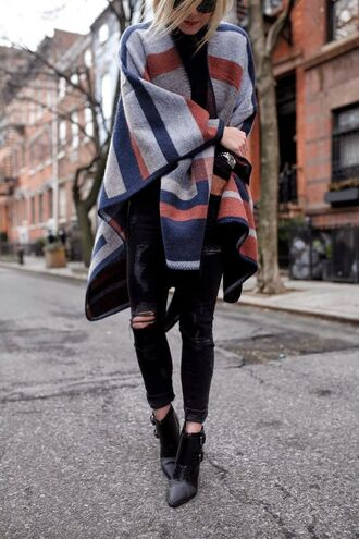 coat topshop colorblock geometric nordstrom zara streetstyle fashion ankle boots poncho black ripped jeans cozy stripes winter outfits autumn/winter 70s style winter coat simple et chic style women girl cape fancy