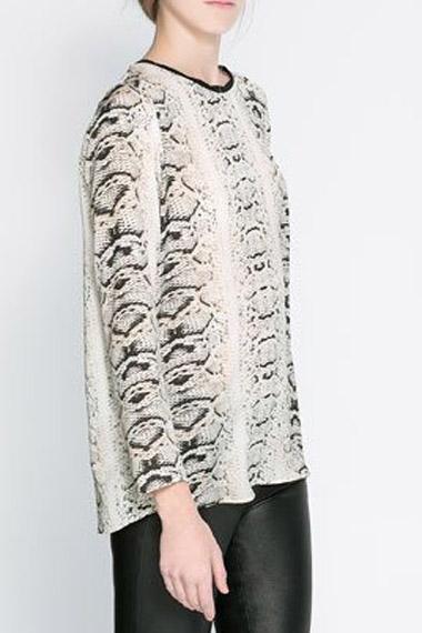 Snake Texture Printing Long Sleeve Blouse