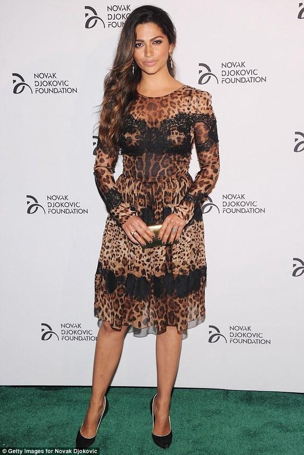 dress leopard print lace dress long sleeve dress midi dress camila alves