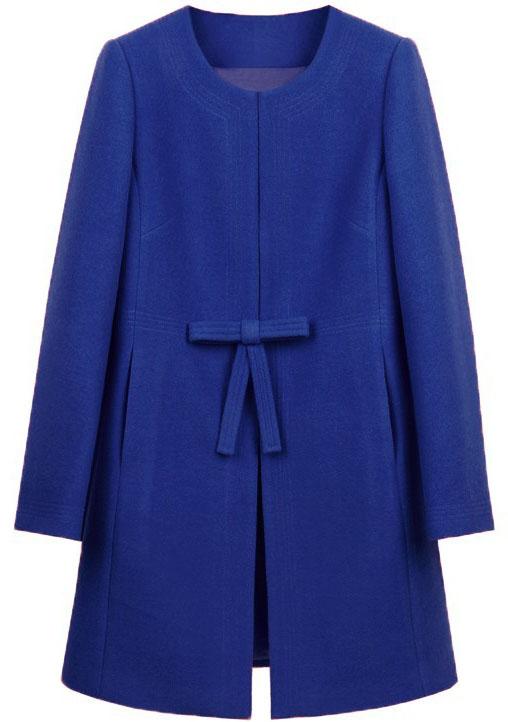 Royal Blue Bowknot Front H-line Simple Wool Blend Coat - Sheinside.com