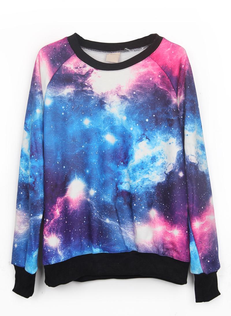 Pink and Blue Galaxy Print Pullover Sweatshirt - Sheinside.com