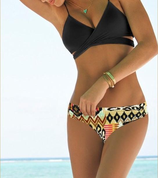 swimwear body wrap black bikini vintage swimwear