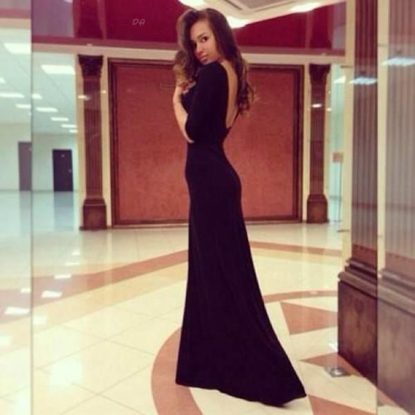 dress long dress black dress black