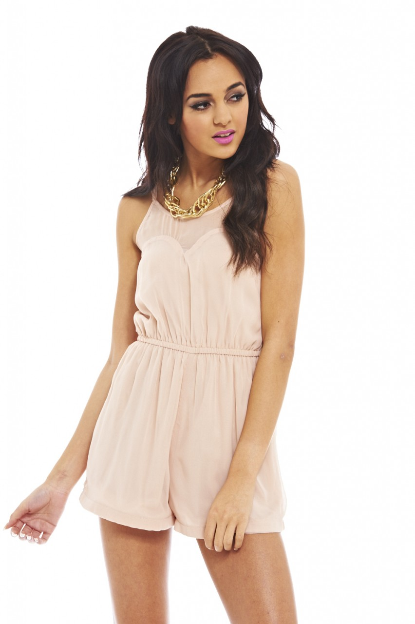 Pink Jump Suits/Rompers - Nude  Sweetheart Romper | UsTrendy