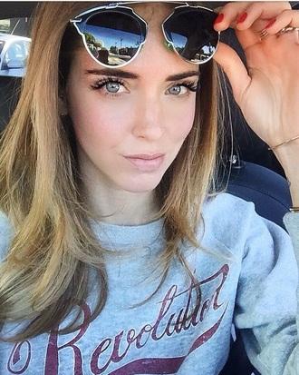 sunglasses vintage mirrored sunglasses aviator sunglasses dior sunglasses dior so real the blonde salad chiara ferragni top blogger lifestyle blogger glasses sunnies accessories accessory instagram style trendy fashion