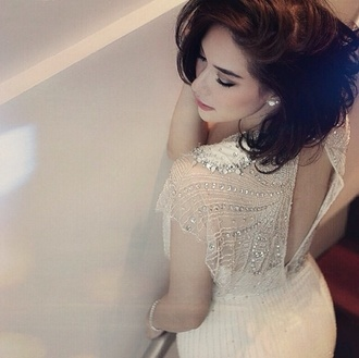 white white sneakers nude high heels nude dress dress ploy fruity-girl funny smile glitter dress pearl