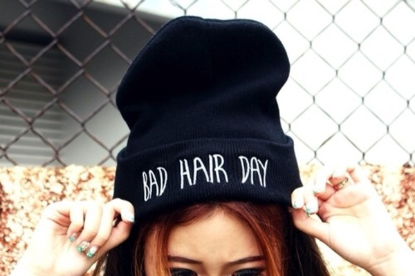 hat black hair bad day