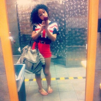 bag cropped british flag top red high waisted skirt sandals foxtail india westbrooks t-shirt shirt shorts