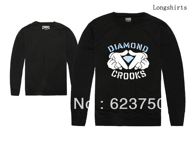 Free Shipping Crooks Diamond Sweatshirt fashion hip hop MENS long sleeve sweaters 4 styles Black White Grey Red Size S XXL-in Hoodies & Sweatshirts from Apparel & Accessories on Aliexpress.com