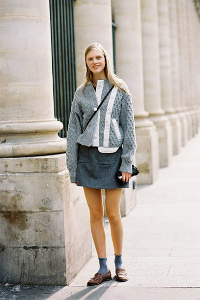 vanessa jackman blogger knitted cardigan grey skirt charcoal loafers skirt sweater