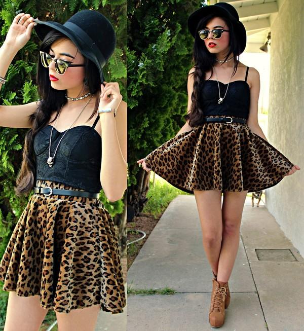 skirt leopard print leopard print skirt black