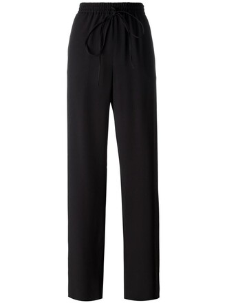 women drawstring cotton black pants