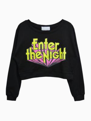 Enter The Night Crop Sweatshirt   Choies
