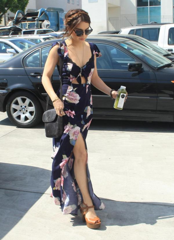 dress maxi dress clothes floral vanessa hudgens floral maxi dress