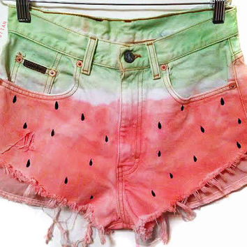 Watermelon Shorts High Waisted Shorts Women's Clothing Hipster Style Coachella Festival Wear on Wanelo
