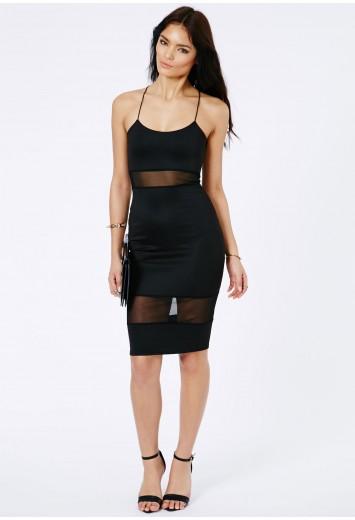 Shilin Mesh Panel Strappy Midi Dress - Dresses - Midi Dresses - Missguided