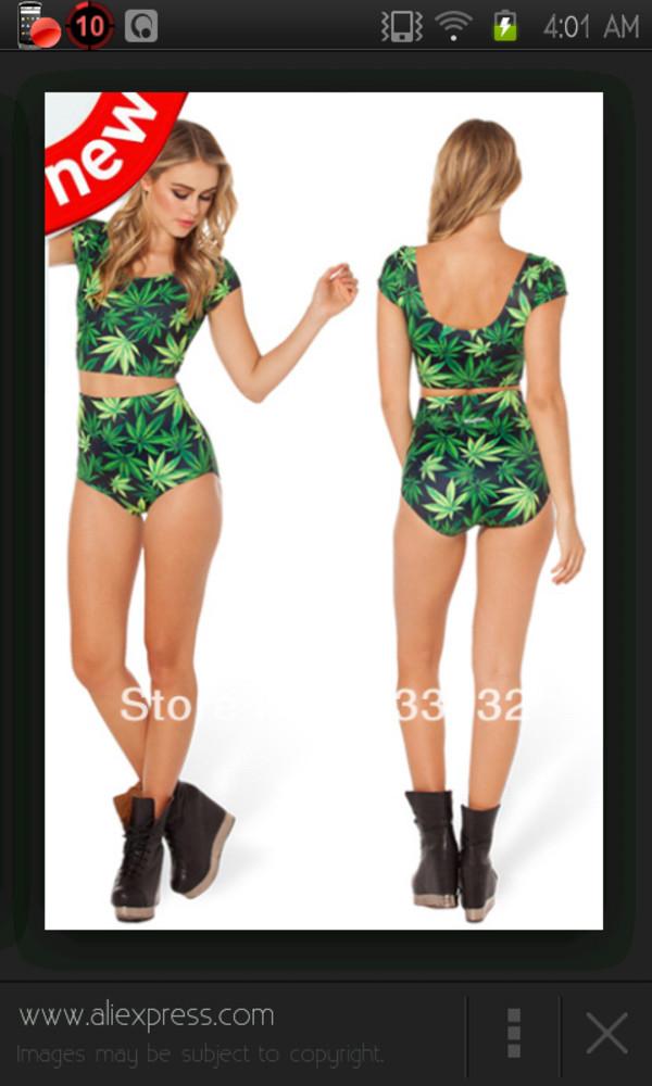swimwear green maryjane swimwear crop tops high waisted