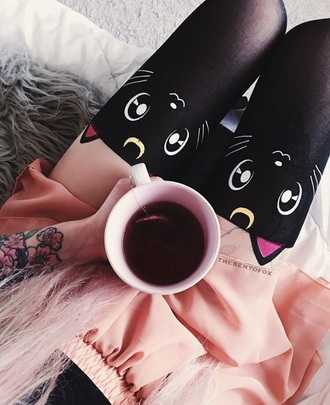 tights black sailor moon cats cartoon