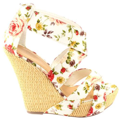 Womens Floral Wedge High Heel Cross Strap Sandals 3 8 | eBay
