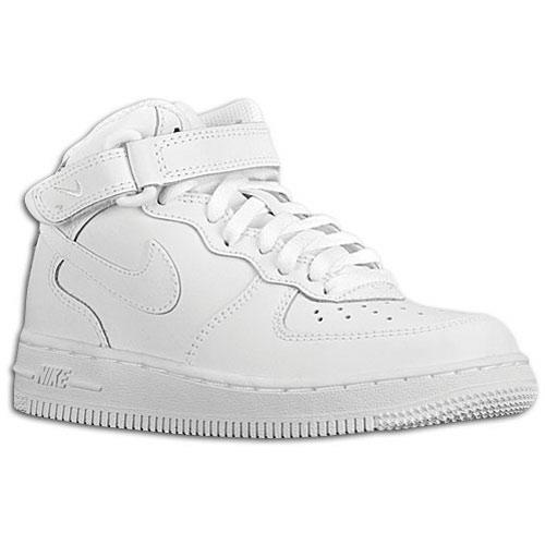 Nike Air Force 1 Mid - Boys' Preschool - Basketball - Shoes - White/White