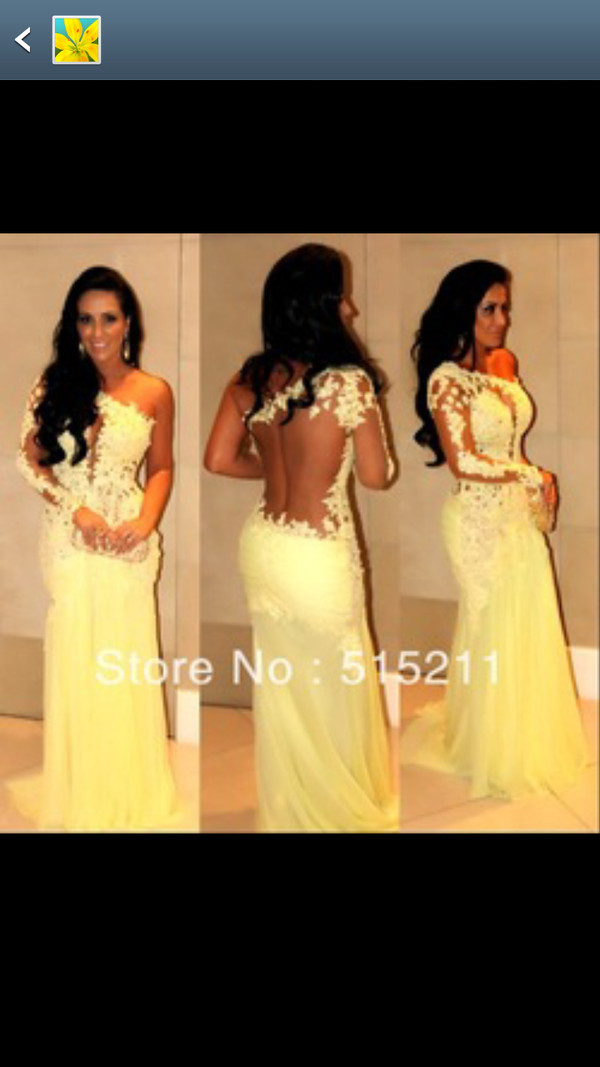 dress yellow long prom dress lace dress sheer elegant