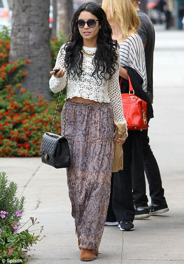maxi skirt crochet top cropped sweater paisley boho chanel bag