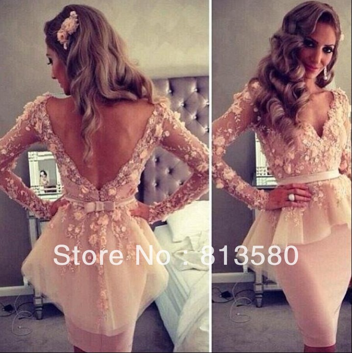 Hot Sales New Sexy 2013 Long Sleeves Pink V Neck Myriam Fares Celebrity Dresses Sheath Short Evening Gown Real Picture-in Celebrity-Inspired Dresses from Apparel & Accessories on Aliexpress.com