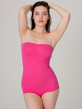 Cotton Spandex Jersey Strapless Ruched Bodysuit   American Apparel