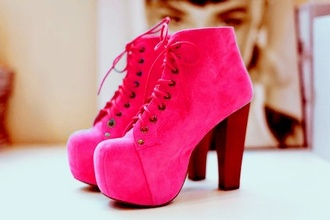 shoes fluo pink lita platform boot high heels girly cute vintage look retro nice pretty cool coat rose pink high heels jeffrey campbell lita beautiful pink by victorias secret