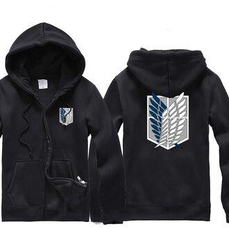 sweater hoodie sweatshirt wings zip-up black
