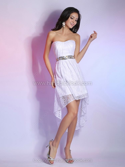 A-line Sweetheart Lace Asymmetrical Sequins Homecoming Dresses - HandpickLook.com