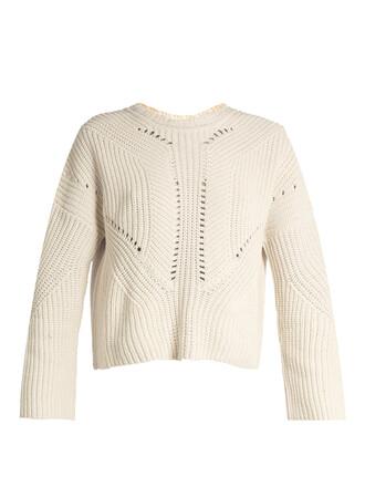 sweater back lace cotton beige