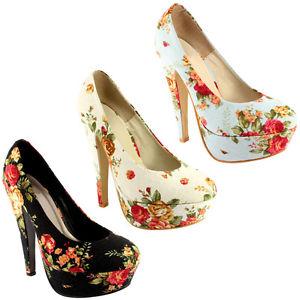 Womens Floral Flower Print High Heel Court Shoes 3 8   eBay