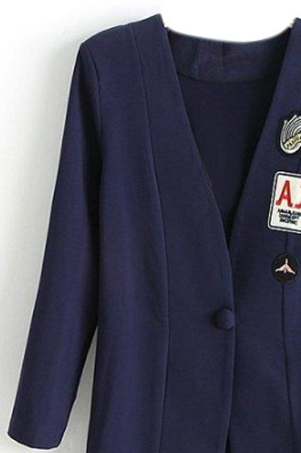 abaday | abaday V-neck Icons Print Navy-blue Blazer, The Latest Street Fashion