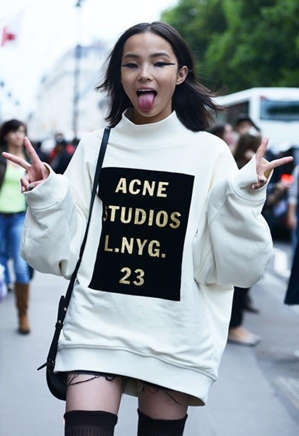sweater gold writing sweatshirt acne studios