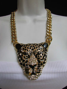 New Women Gold Fashion Necklace Panther Big Tiger Head Pendant Rhinestones 12"
