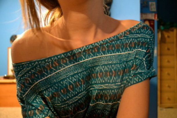 t-shirt navajo indian aztec boho tribal pattern green orange off the shoulder