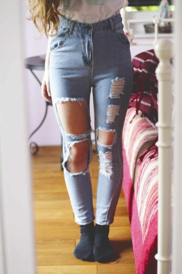 jeans denim cut-out ripped jeans high waisted