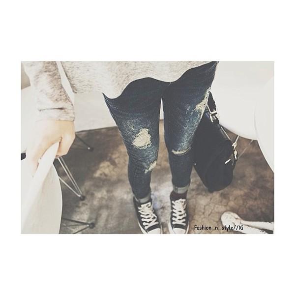 jeans blue blue jean pants ripped jeans shoes bag