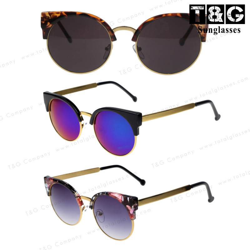 Free Shipping New 2014 Super Retro Glasses Half Metal Rim Vintage Women Sunglasses Cateyes Designer Eyeglasses For Girls Oculos-inSunglasses from Apparel & Accessories on Aliexpress.com