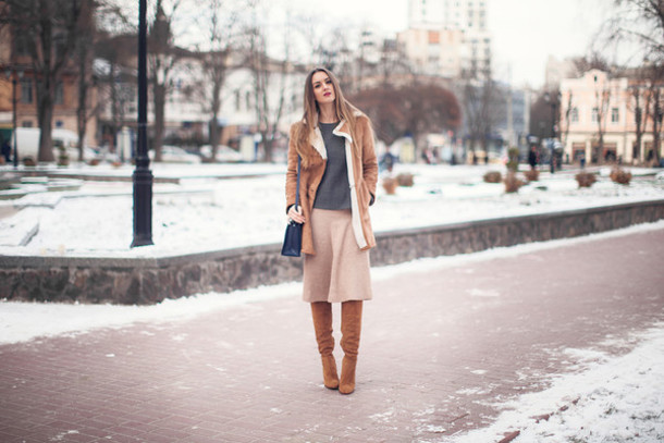 fashion agony blogger coat bag midi skirt brown leather boots winter outfits top skirt shoes