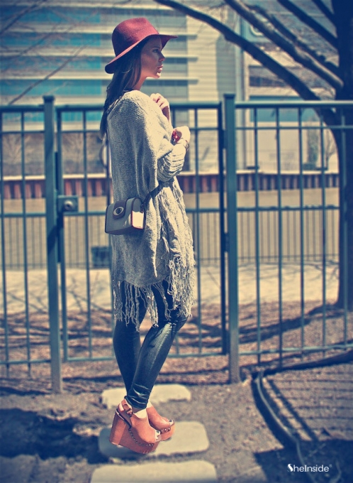 Light Grey Batwing Long Sleeve V-neck Tassel Hem Cardigan - Sheinside.com