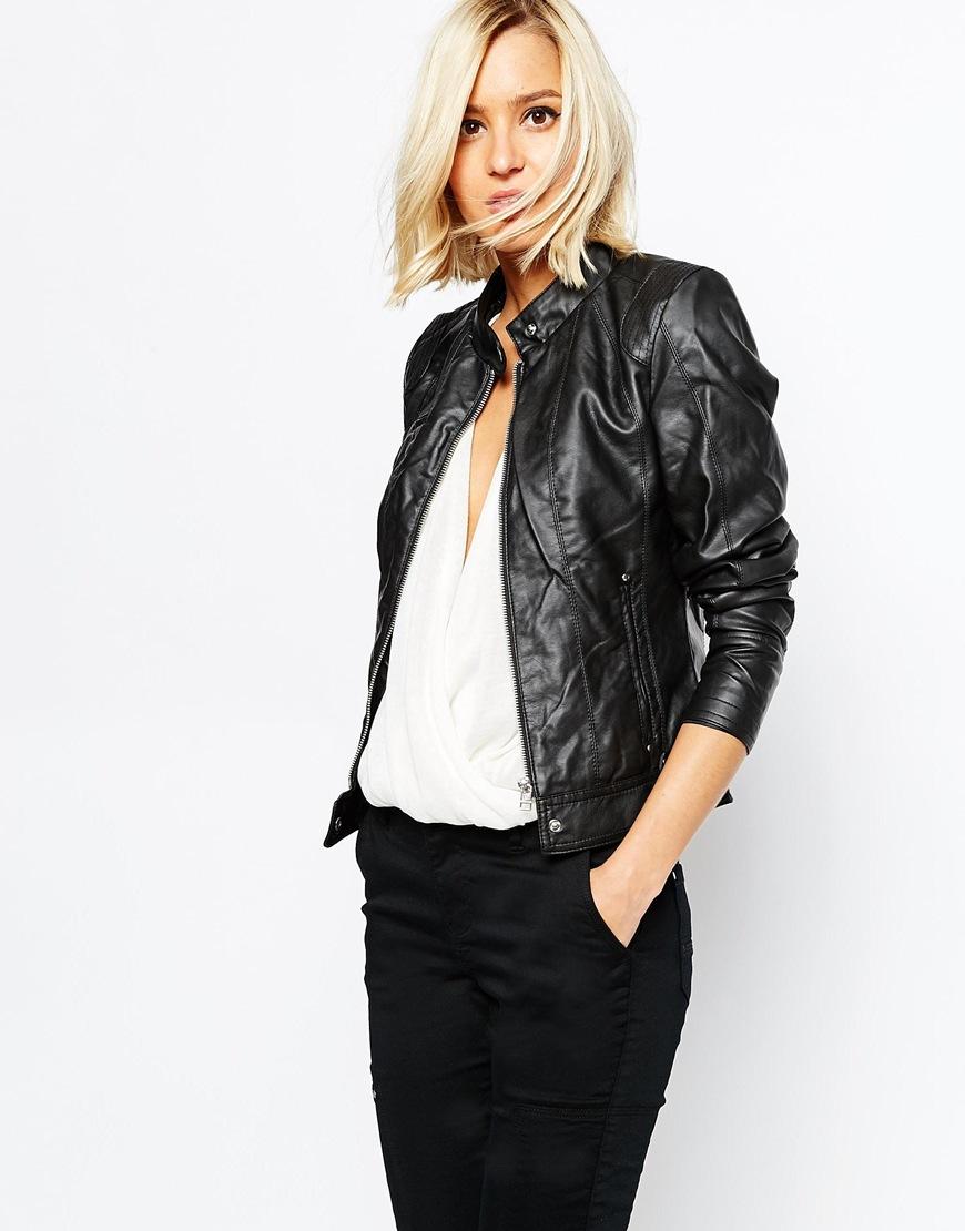 Vero Moda Leather Look Biker Jacket At Asos.com