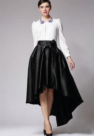 littledaisy   Vintage Bowknot High Waist Dip Hem Maxi Skirt    Online Store Powered by Storenvy