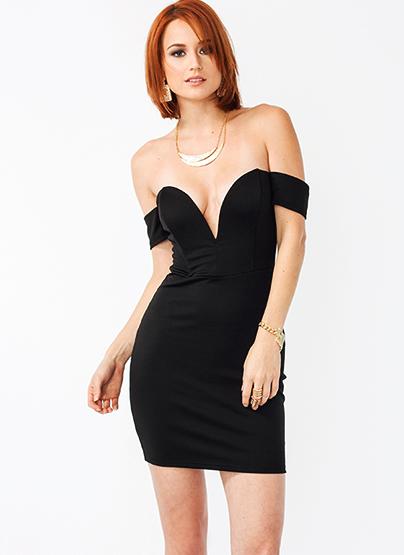 GJ | Off-The-Shoulder Sweetheart Dress $41.00 in BLACK - Bodycon Dresses | GoJane.com