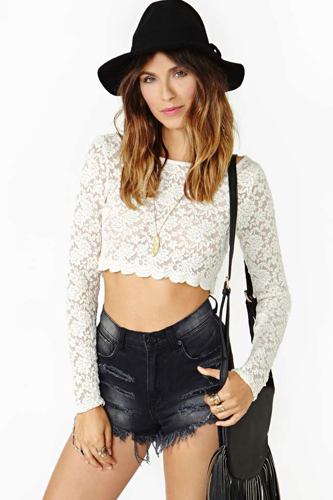 Lennox Lace Crop Top in  Clothes Tops Cropped at Nasty Gal