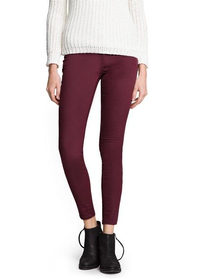 MANGO - NEW - Super slim-fit burgundy jeans