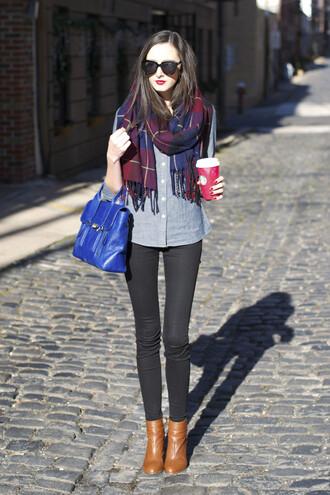 the glam files blogger sunglasses scarf black jeans denim shirt satchel bag blue jewels jeans shoes bag